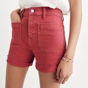Madewell Red High Rise Pocket Denim Shorts 25